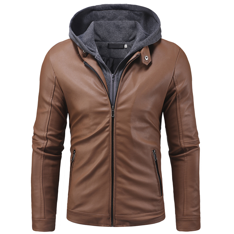 Leather Jaket Men New Fashion Fake Two Pieces Knitted Hooded Winter Jackets Mens Casual High Quality Motorcycle Coat