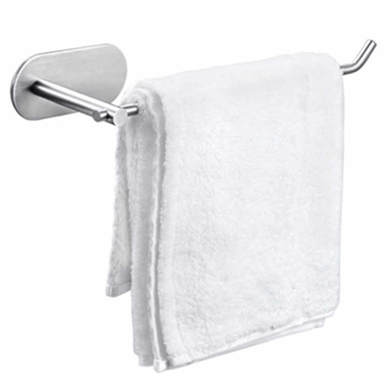 Bathroom Suction Small Towel Ring Holder And Kitchen Toilet Paper Holder 3M Self Adhesive 304 Stainless Steel Brushed Finish