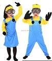 Бесплатная доставка, два стиля девушка мальчики желтый синий детей Миньоны костюм dress + очки + черные перчатки + желтый оголовье