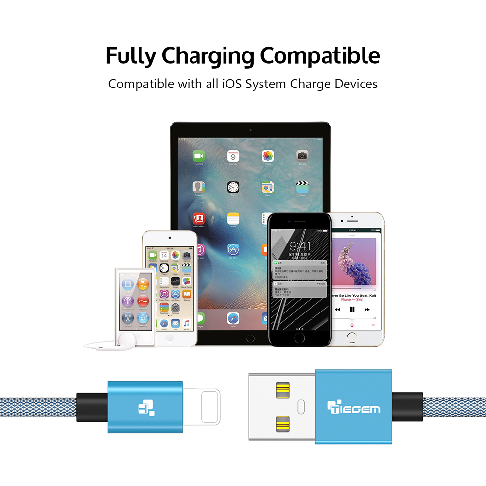 Usb Charger Cable for iphone TIEGEM 1m 2m 3m iOS10 2 5A Fast Mobile Phone  USB Charger Data Cable for iPhone 6 6s 7 iPad Air iPod-in Mobile Phone