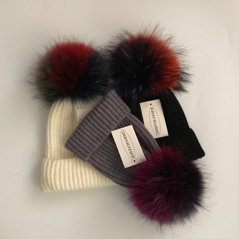 Fashion Real Fox Fur Raccoon Colorful Pompoms 18cm Hats For Women Girl Winter Solid Wool Warm   Skullies     Beanies   Hat Caps 2018 New