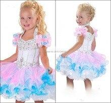 Custom Made!2016 New Cute Little Girls Pageant Dress Ball Gown Cupcake Mini Short Ruffles Beaded Organza Glitz Flower Girl Dress