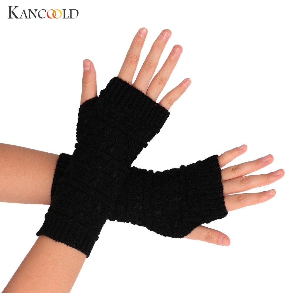 KANCOOLD Gloves Fashion Knitted Arm Fingerless Winter Gloves Unisex Soft Warm Mitten High Quality Wool Gloves Women 2018NOV23