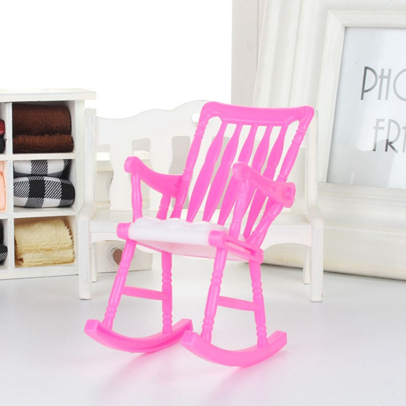 Dollhouse Furniture Accessories Rocking Chair Mini Doll Chair Children Toy Gift Random Color Play House Toy DIY