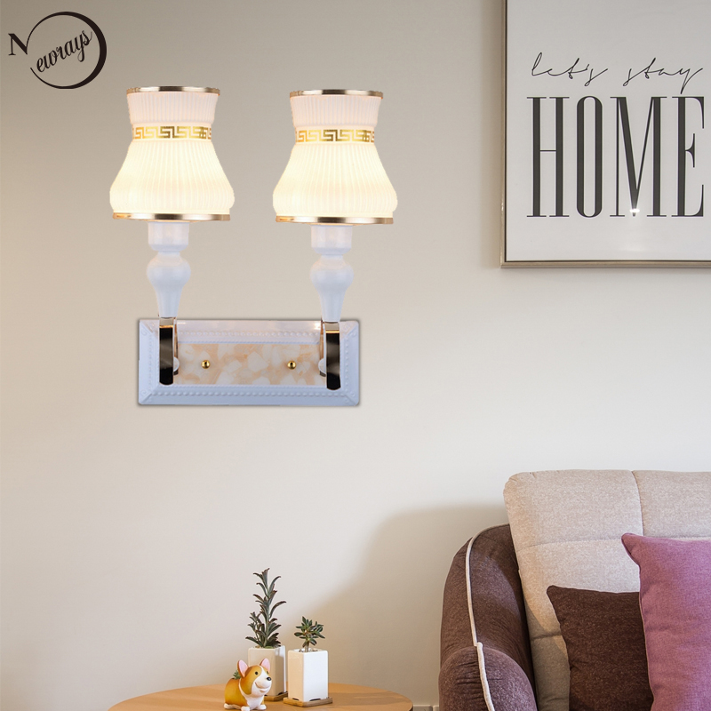 Modern plated classical double head wall Lamp LED E27 220V novelty wall Lights for living room bedroom restaurant hallway hotel chinese style classical wooden sheepskin pendant light living room lights bedroom lamp restaurant lamp restaurant lights