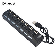 Kebidu 5pcs/lot 7 Ports USB Hub 480 Mbps High Speed LED Pilot Lamp With Power on/off Switch For PC Laptop Computer Wholesale(China)