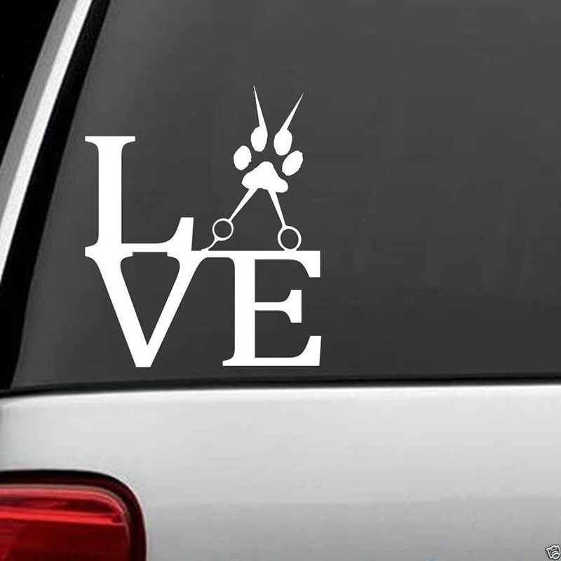 Love To Groom Dog Grooming Scissors Decal Sticker For Car Truck Van Rear Window Car Sticker in Car Stickers from Automobiles Motorcycles