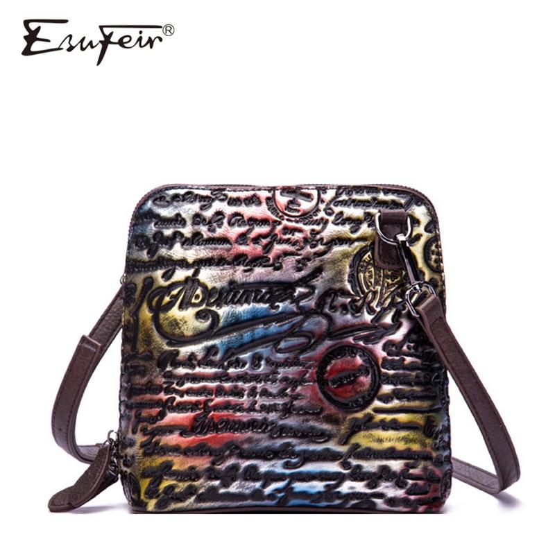 New ESUFEIR Luxury Women Shell Messenger Bag Genuine Leather Embossed Vintage Shoulder Bag Ladies Fashion Handbags