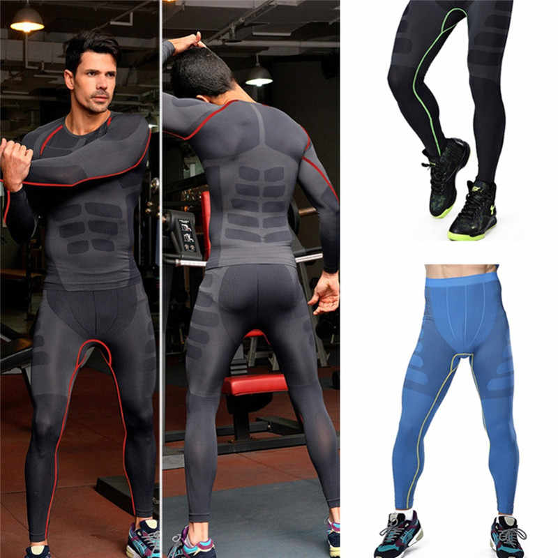 Men's Base Layer Compression Thermal Under Skin T-shirts Tops Wear Leggings Gym