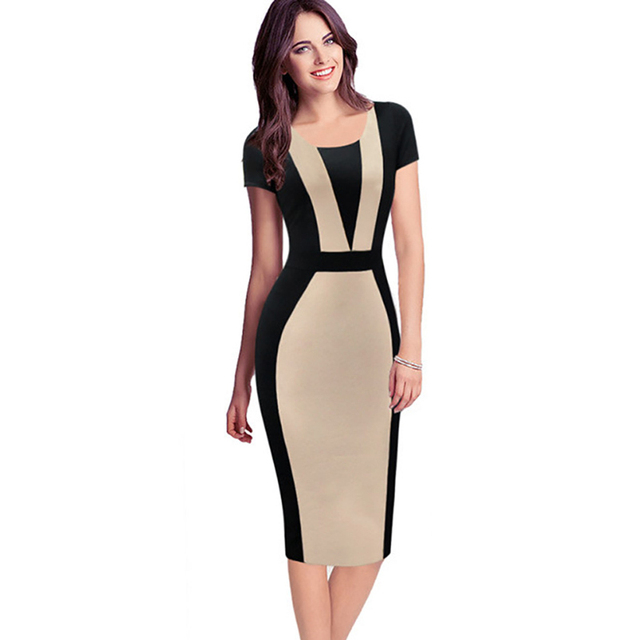 d0f74c8572ab Womens Elegant Sexy O-neck Short Sleeve Pinup Patchwork Bandage Bodycon  Office Dress Knee-length Pencil Dress Wear to Work