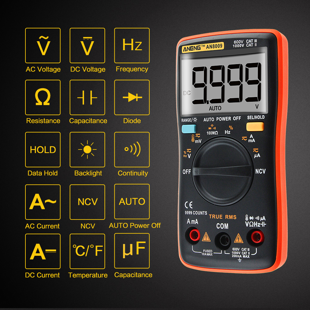 AN8009 de verdadero valor eficaz multímetro Digital de rango automático NCV Ohmmeter AC/DC voltaje amperímetro medidor de corriente Medición de temperatura