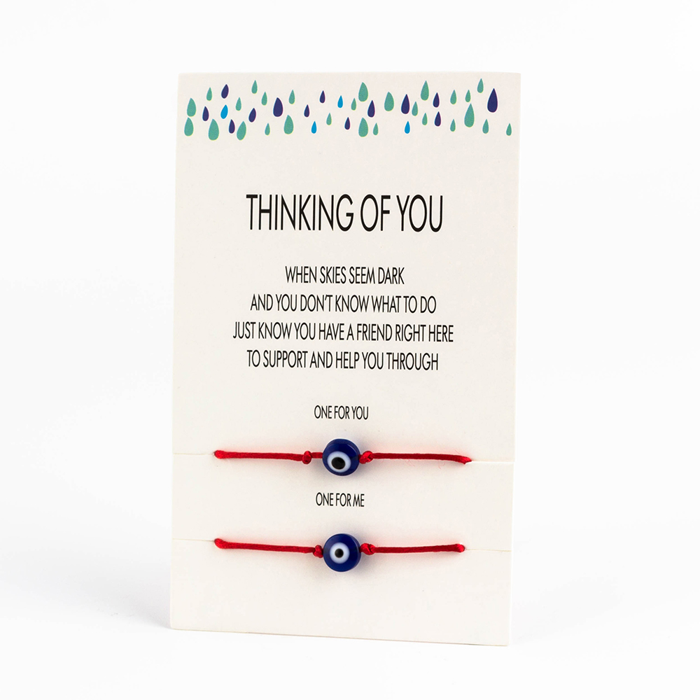 Lucky Eye Blue Evil Eye Charms Bracelet Red String Thread Rope Couple Bracelet Wish Card Jewelry For Women Men Adjustable CN219