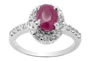 Wholesale freeshipping! Fashion  jewelry, Birthstone ring, Natural Ruby ring ,White gold plated 925 Sterling Silver Ring.