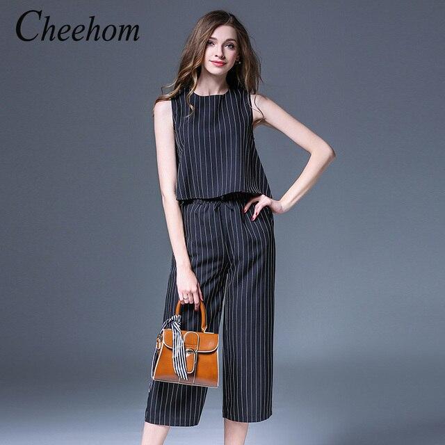8faf84b8b Cheehom nuevas mujeres del verano de dos piezas volantes blusa a rayas  pantalones anchos de piernas