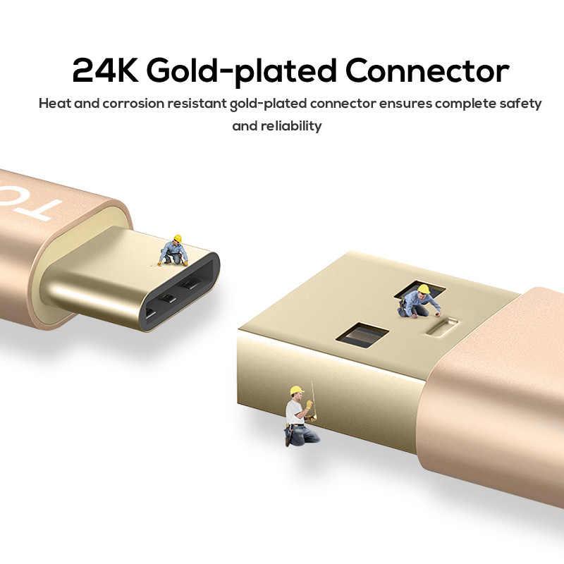 TOPK USB typu C kabel nylonowy linii i metalowa wtyczka typu C kabel do synchronizacji danych do Samsung Galaxy S9 S8 Plus USB-C kable