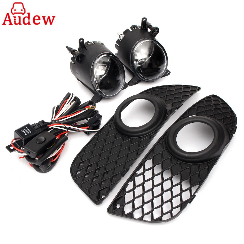 2pcs  H11 Car Front Fog Driving Lights Bumper Grille Cover Trim+Hook-up Wire Switch Kit for Mitsubishi/Lancer 1set front chrome housing clear lens driving bumper fog light lamp grille cover switch line kit for 2007 2009 toyota camry