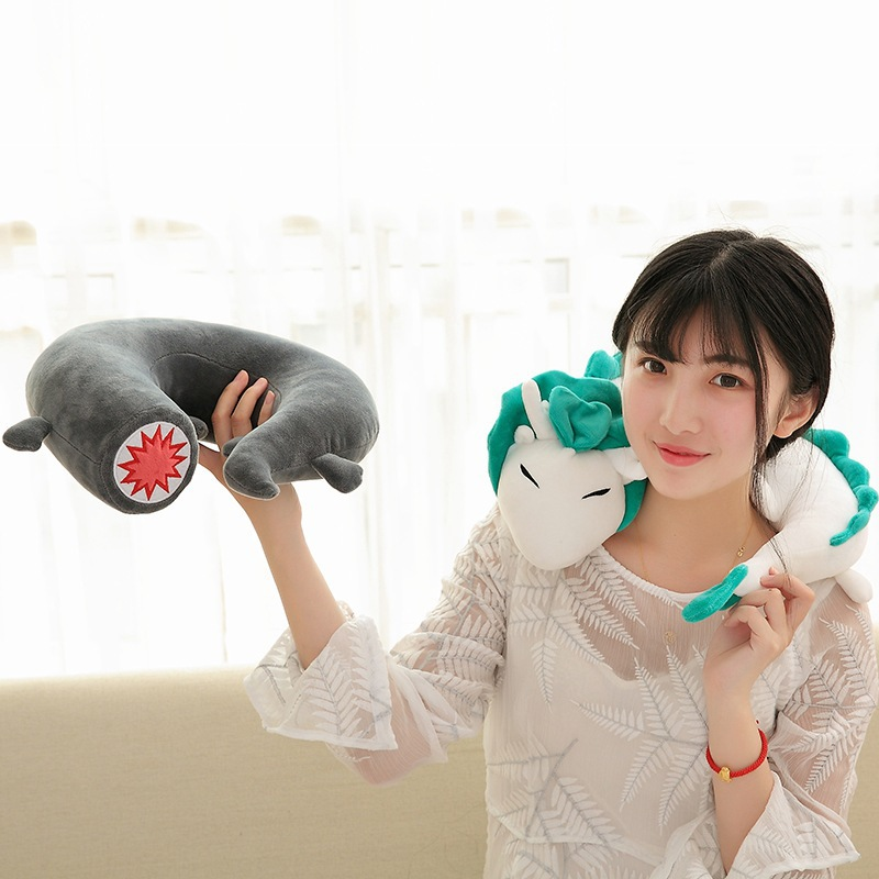 Candice guo plush toy cartoon anime Ghibli Miyazaki Hayao Spirited Away Haku white dragon Neck rest U style pillow cushion 1pc a spirited resistance