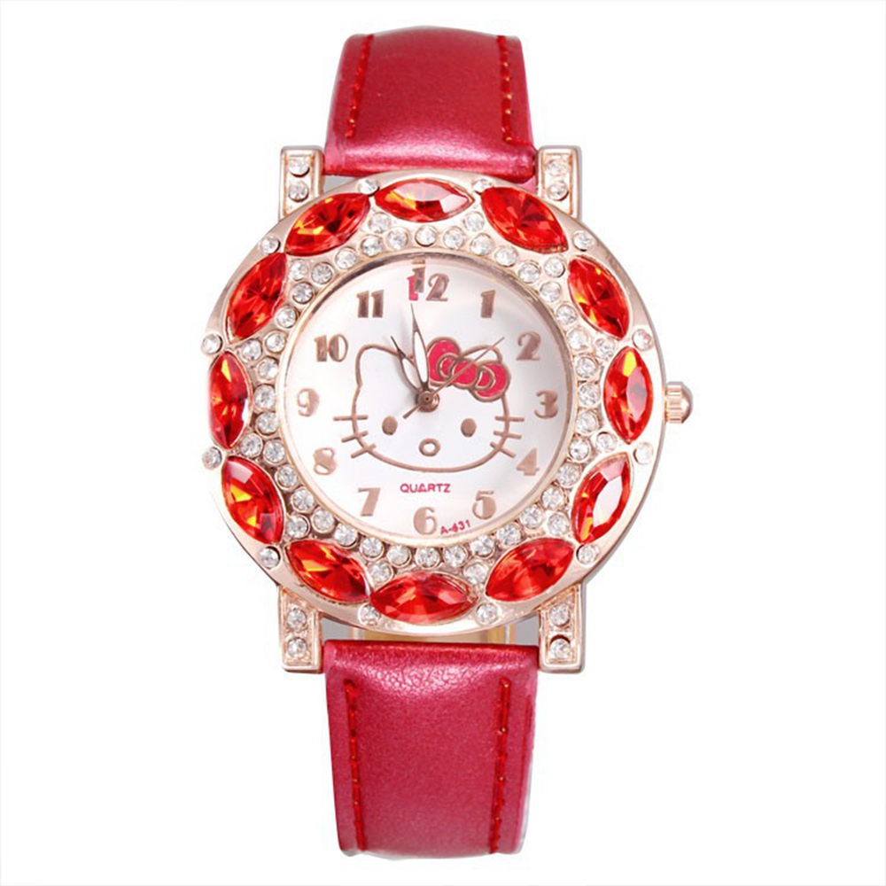 2019 Lovely Rhinestone Cartoon Watch Children Girl Pink Leather Band Quartz Watches Diamond Clock Women Girls Relojes Feminino