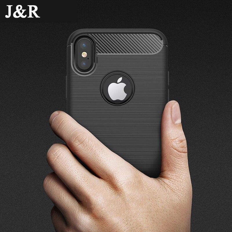 Чехол для Телефона iPhone X 8 7 6 6 S плюс 5 5S SE задняя крышка из углеродного волокна ТПУ мягкий силиконовый противоударный полной защитной Капа Coque