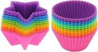 24 Pçs/set Estrela Forma Redonda Presente de Muffin Cupcake Liners Muffin Cupcake Baking Fondant Moldes Ferramentas de Decoração Do Presente ZH054