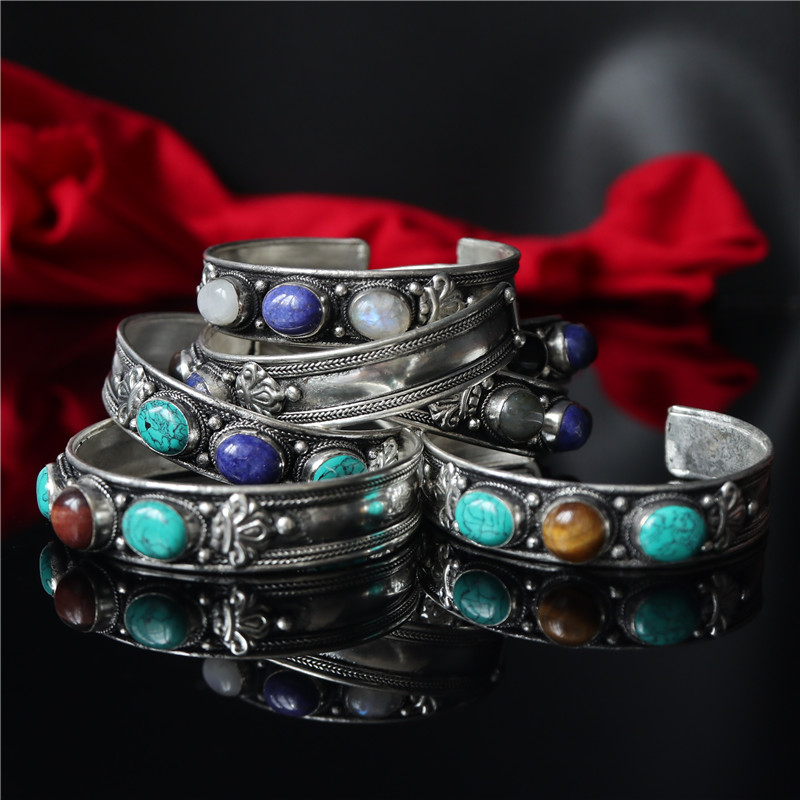 Mix Wholesale 10PCS Tibetan Silver inlaid Colorful Natural Stone Beads Open Cuff Bangles Nepal Vintage Jewelry