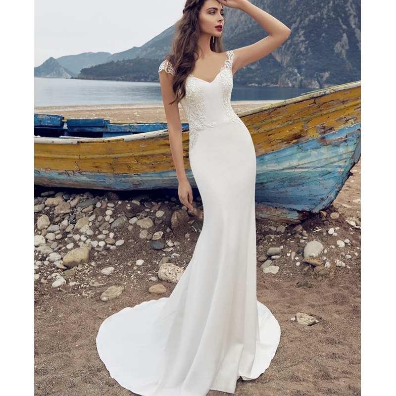 2017 new design luxury detachable train beach wedding dress delicate embroidery vestido deep v neck bride gown hot sale