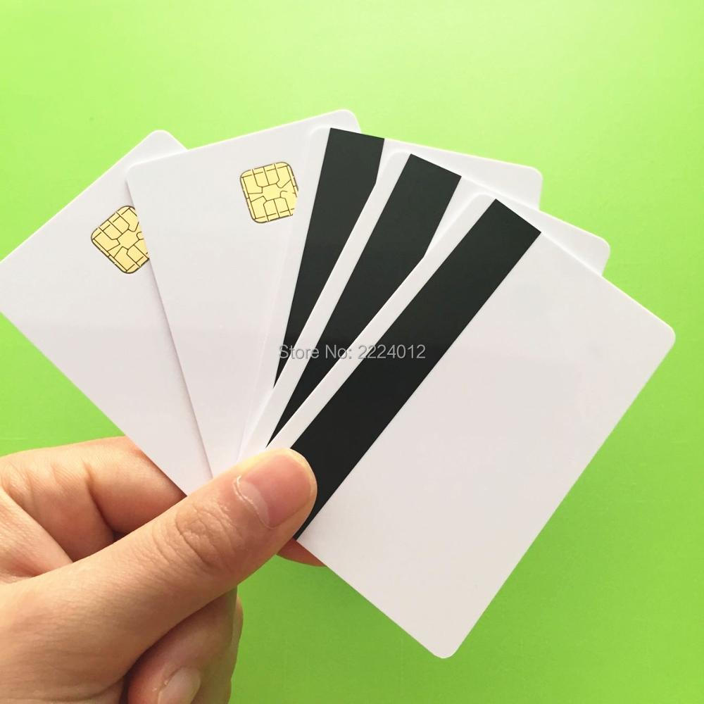 WhiteContact Sle4428 Chip Smart IC Blank PVC Card W/ Hi-Co Magnetic Stripe For MS R609 Mag Reader Writer 20PCS/Lot