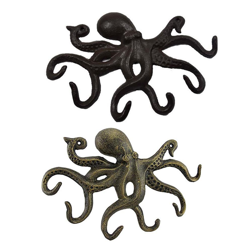 Wrought Iron Octopus Shape Key Hooks Crafts Wall Mounted Clothes Hanger Key Holder Rack with 6 Tentacle Shaped Hooks Home Decor