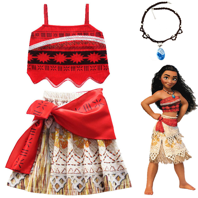 Princess Party Moana Cosplay Costume for Children Vaiana dress Costume with Necklace for Halloween Costumes for Kids Girls Gifts