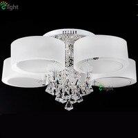 Candelabros Led regulables de cristal de brillo moderno iluminación Luminaria anillo acrílico comedor Led lámpara de techo