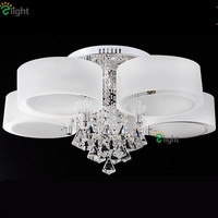 Modern Simple LED Chandelier Acrylic Lampshade Chandelier Simple Fashion K9 Crystal Remote Control Chandelier