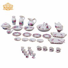 Dollhouse Miniature 1:12 Bunch of flowers dishs set tableware Porcelaine 42 pcs(China)