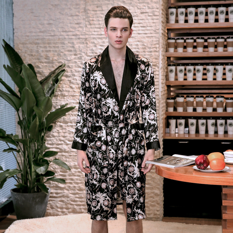Single robe male faux silk spring and summer long sleeve thin turn-down collar men sleep ...