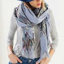 Z1563 Womens Mens Unisex Mix Color Stripe Tassel Cape Blanket Tartan Scarf Autumn Winter Fall Scarves