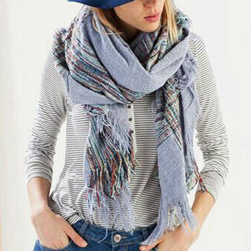 Z1563 Womens Mens Unisex Mix Color Stripe Tassel Cape Blanket font b Tartan b font Scarf