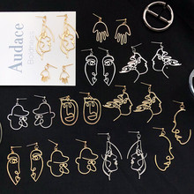 Face Retro Abstract Hollow out Statement Hand Dangle Earring RK
