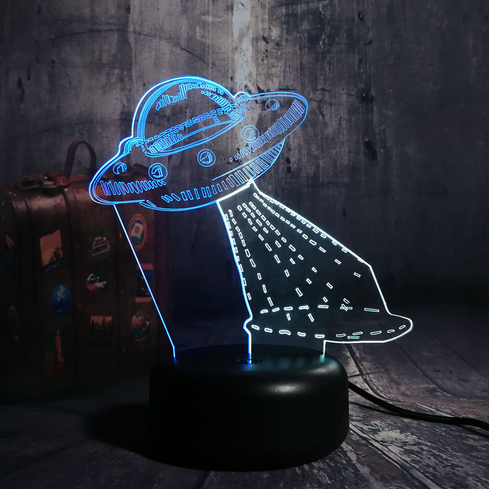 Cartoon Cute UFO Alien Spacecraft Acrylic 3D LED RGB Mixed 7 Dual Color Night Light Table Lamp Remote Room Decor Christmas Gift beiaidi 7 color usb rechargeable rabbit led night light dimmable animal cartoon light with remote baby kids christmas gift lamp