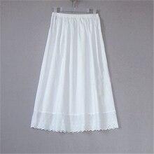 Для женщин 100% хлопок белые однотонные Макси Вышивка половина скольжения с Кружева плюс Размеры 55-80 см сексуальное платье Нижняя юбка # S015