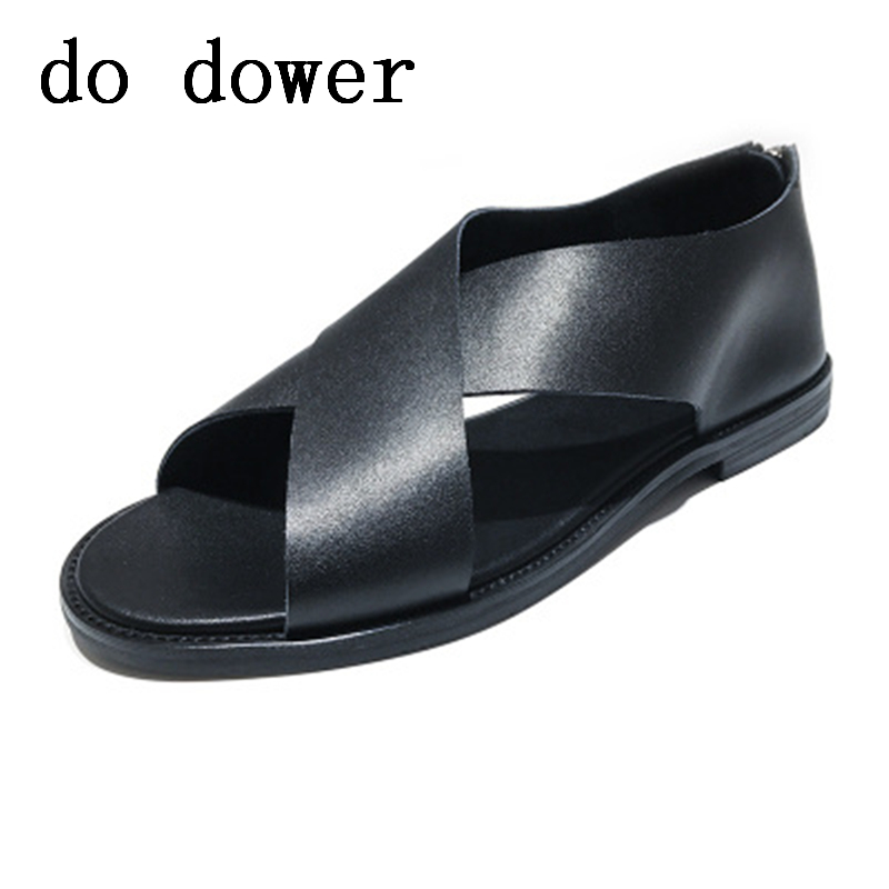 Luxury Classics Summer Shoes Men Sandals Fashion Male Sandalias Beach Shoes Concise Business Breathable Leather Flats Sandals
