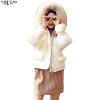 HIJKLNL 2018 Новый Для женщин зимняя куртка на утином пуху короткое белое пальто с меховым капюшоном внешний Повседневное одноцветное Цвет тепла