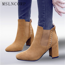 Size 34-43 New High quality Women Genuine Leather Ankle Boots Ladies Party Nubuck Elastic Slip On high heels Shoes Pumps