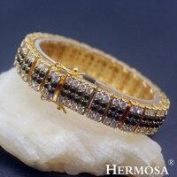 Hermosa Jewelry New Fashion Gold Plating Black Onyx Zircon Bracelet HF1919
