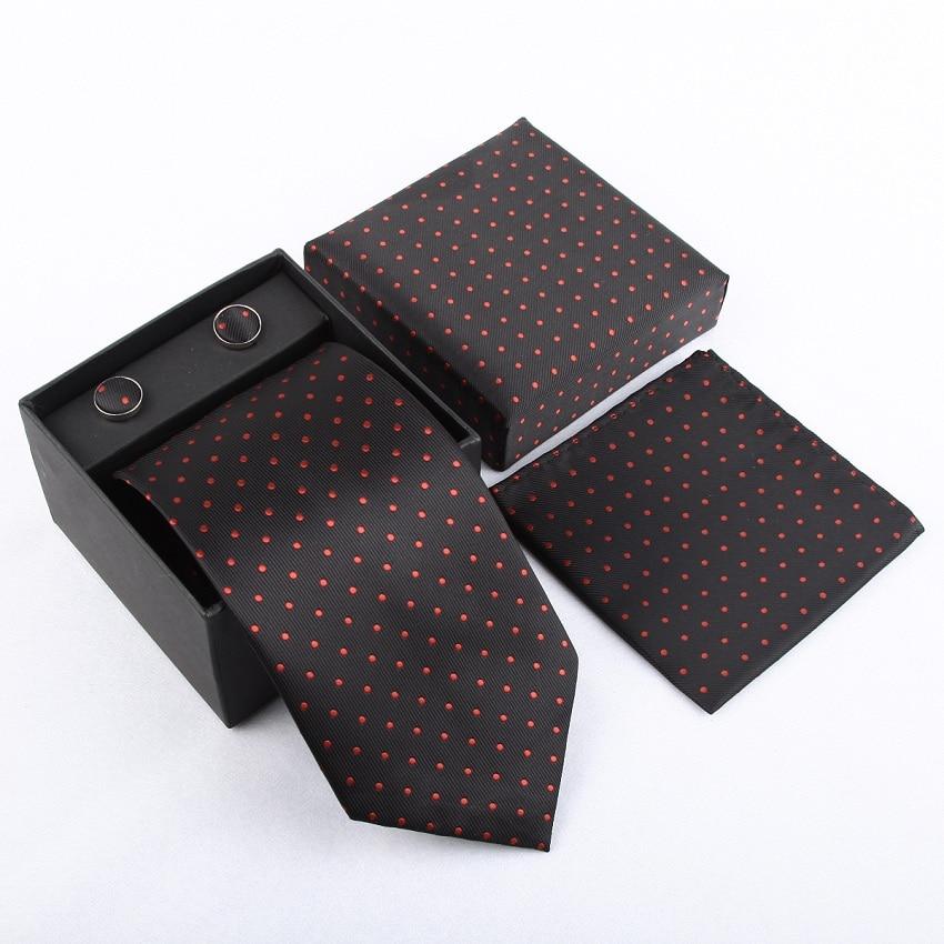 Мужская мода высокого качества захват набор галстуков галстуки запонки шелковые галстуки Запонки карманные носовой платок - Цвет: 26
