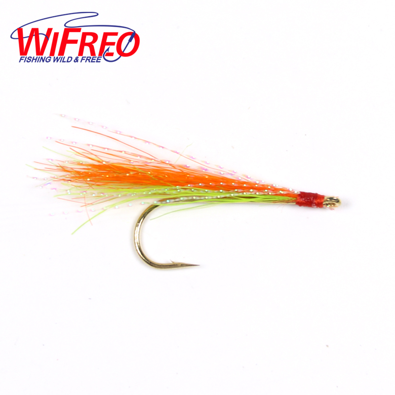 Wifreo 6PCS #6 Golden Hook Chartreuse Orange Streamer Fly with Flasher Wing Trout Fly Fishing Bait Flies orange box with cs1 6