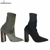 2016 Women Boots Square Heel Stretch Fabric Women Boots Sock Jersey Ankle Boots Black Army Green