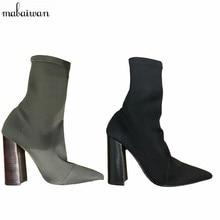 2017 Nueva Tacón Cuadrado Tejido Elástico Mujeres Botas Calcetín Del Tobillo botas de Negro Verde Zapatos de Tacón Mujer Botines Mujer de Las Mujeres bombas