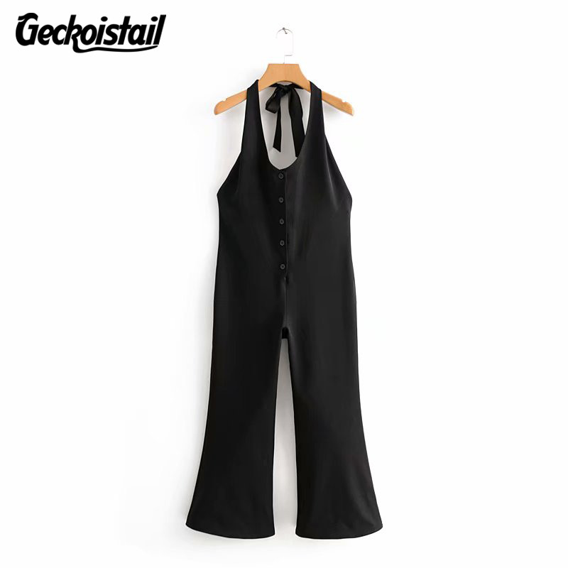 Geckoistail Women Off Shoulder Sleeveless Sexy jumpsuit black bodysuit Rompers 2018 Summer Overalls for women Elegant Clothes