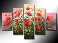 100% ручная работа красный цветок Высокое Q. абстрактный настенный Декор Пейзаж маслом на холсте 5 шт./компл. с каркасом готовы висел