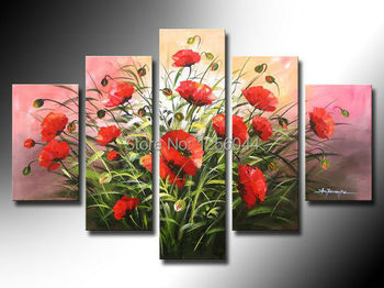 100% Hand made red flower High Q. Abstract Wall Decor Landscape Oil Painting on canvas 5pcs/set with Framed ready to hung