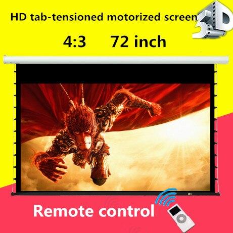 100% Waar Jingke Projector Scherm 4:3 72 Inch Tab-spanning Scherm Gemotoriseerde Hd Stof Ondersteuning 3d/4 K/2d Voor Thuis